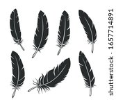 silhouettes of feathers set.... | Shutterstock .eps vector #1657714891