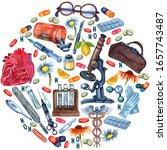 watercolor set of medical tools ... | Shutterstock . vector #1657743487
