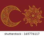 abstract stylized  sun and moon ... | Shutterstock .eps vector #165776117