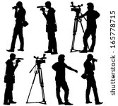 cameraman with video camera.... | Shutterstock .eps vector #165778715