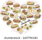 various different sandwich... | Shutterstock .eps vector #165796181