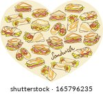 various different sandwich... | Shutterstock .eps vector #165796235