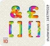 joyful 3d set of cut paper...   Shutterstock .eps vector #165799319