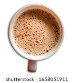 Small photo of isolated boiling hot fuzzy chocolate mug closeup