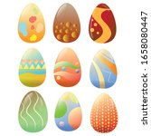 set of decorated easter eggs  ... | Shutterstock .eps vector #1658080447