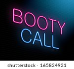 Illustration depicting an illuminated neon sign with a booty call concept.