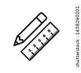 pencil and ruler crossed flat...
