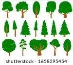 big set of vector deciduous and ...