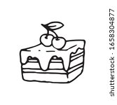 hand drawn vector cute cherry...   Shutterstock .eps vector #1658304877