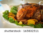 turkey with leaves and oranges... | Shutterstock . vector #165832511