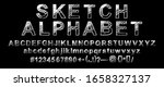 hand drawn typeface. painted... | Shutterstock .eps vector #1658327137