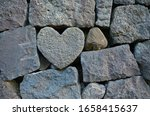 Heart Rock In Stone Wall At...