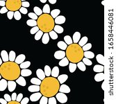 seamless hand drawn daisy... | Shutterstock . vector #1658446081
