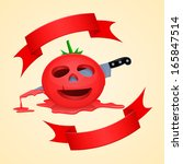 halloween tomato and pierce...   Shutterstock .eps vector #165847514