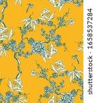 yellow shinoiserie vintage... | Shutterstock .eps vector #1658537284
