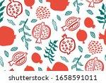 pomegranate seamless pattern...   Shutterstock .eps vector #1658591011