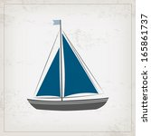 vintage marine card with... | Shutterstock .eps vector #165861737