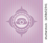 phone icon inside pink emblem.... | Shutterstock .eps vector #1658652541
