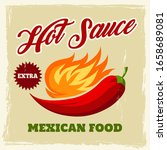 chili sauce vintage poster or...   Shutterstock .eps vector #1658689081
