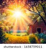 Sunrise In Village Landscape...