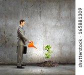 image of businessman watering... | Shutterstock . vector #165881309