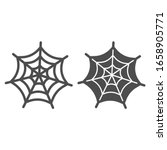 spider web line and solid icon. ... | Shutterstock .eps vector #1658905771