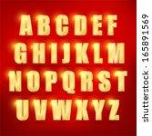 3d  set of gold vector alphabet.... | Shutterstock .eps vector #165891569