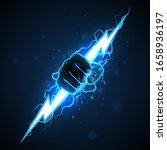 fist with blue lightning... | Shutterstock .eps vector #1658936197