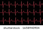 Red Cardiogram Pulse Trace On...