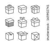 gift box icons  holiday presents   Shutterstock . vector #165902741