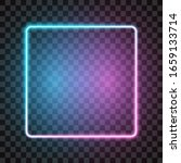 neon square frame  blue and... | Shutterstock .eps vector #1659133714