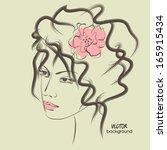 art sketched beautiful girl... | Shutterstock .eps vector #165915434