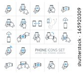 vector phone icons set with... | Shutterstock .eps vector #165920309