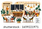 people in cozy cafe  coffee... | Shutterstock .eps vector #1659221971