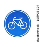 blue bicycle traffic sign on a... | Shutterstock . vector #165935129