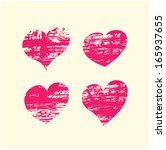 set of grunge vector hearts....   Shutterstock .eps vector #165937655