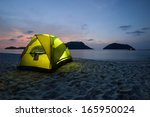 Green Tent On Sandy Wild Beach...