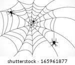 silhouette of spider web with... | Shutterstock .eps vector #165961877