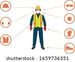 worker with personal protective ... | Shutterstock .eps vector #1659736351