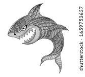 Hand Draw Zentangle Shark...