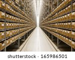large group of cardboard boxes... | Shutterstock . vector #165986501