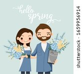 cute couple cartoon with flower ... | Shutterstock .eps vector #1659956914