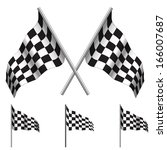 crossed checkered flags  racing ... | Shutterstock .eps vector #166007687