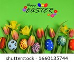 happy easter   painted eggs and ... | Shutterstock . vector #1660135744