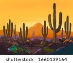Color Sketch Of The Desert Of...