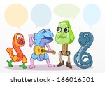 set of cartoon characters with... | Shutterstock .eps vector #166016501