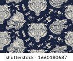 wolf head vintage seamless... | Shutterstock .eps vector #1660180687