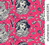 mexico. seamless pattern.... | Shutterstock .eps vector #1660182391