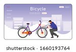 Bicycle Landing Page Flat Color ...