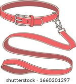 belt collar and leash for dog | Shutterstock .eps vector #1660201297